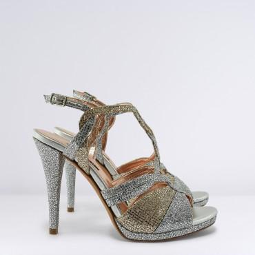 Sandalo in Glitter Argento e Oro