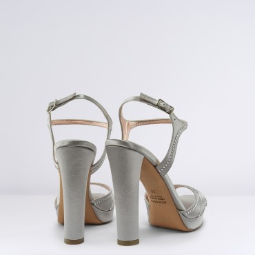 Sandalo in raso Argento