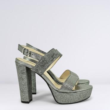 Sandalo in pelle laminata Argento