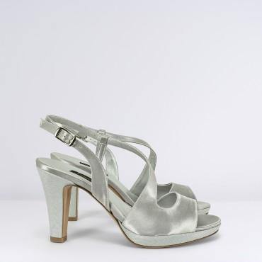 Sandalo Alto in raso Argento