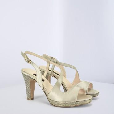 Sandalo Alto in raso Beige