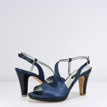 Sandalo Alto in raso Blu