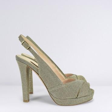 Sandalo Alto Glitter Beige