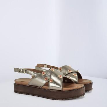 Sandalo in pelle laminata Col. Bronzo