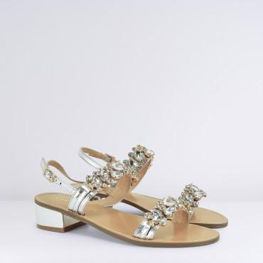 Sandalo con strass e pietre Col. Argento GARDINI - RICCI SHOP b862f43673c