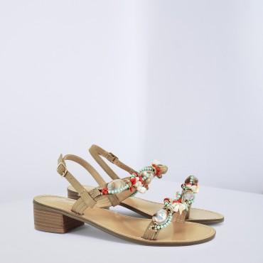 Sandalo con pietre e perline Col. Beige