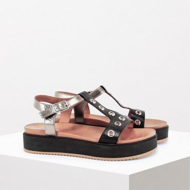 Sandalo bicolore Col. Nero/Bronzo