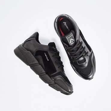 Sneaker in Pelle Total Black