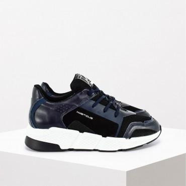Sneaker in Pelle Col. Blu