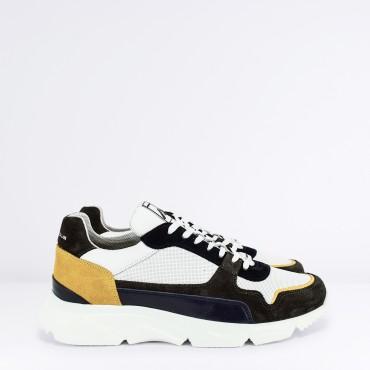 Sneaker in Pelle Col. Bianco/Grigio/Blu