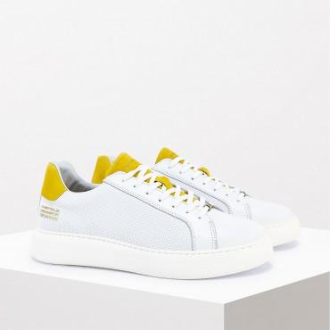 Sneaker in Pelle Col. Bianco Giallo